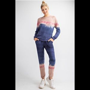 Joggers Blue/Mauve Dip Dyed French Terry
